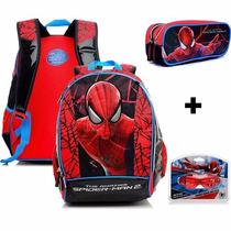 Mochila Costas Homem Aranha Spider Man Tam G + Estojo 15z