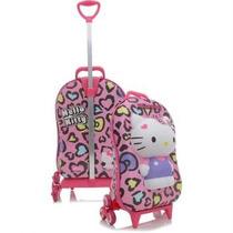 Mochila De Rodinhas Max Toy Leopardo Rosa Hello Kitty