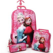 3d Mochila Frozen - Kit 3 Peças 2015 Importado Frete Grátis