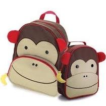 Kit Conjunto Mochila Lancheira Infantil Macaco Skip Hop Zoo