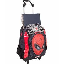 Mochila Rodinha Grande Spider Man Homem Aranha 16z Sestini