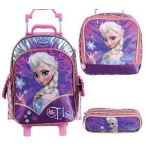 Kit Mochilete M + Lancheira + Estojo Disney Frozen Elsa