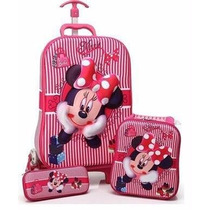 Kit Mochila Minnie Lancheira, Estojo 3d Pronta Entra