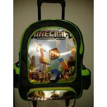 Mochila Escolar Com Rodinhas Minecraft - Entr. Imediata