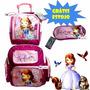 Mochila Princesa Sofia Disney Kit Com Lancheira E Estojo