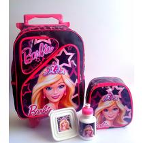Mochila C/ Rodinhas Barbie Princesa Tam G Lancheira + Estojo