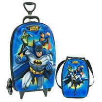 Mochila 3d C/ Rodas Liga Da Justiça Batman+ Lancheira Maxtoy