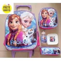 Mochila De Rodinhas Frozen Anna & Elza - Pronta Entrega