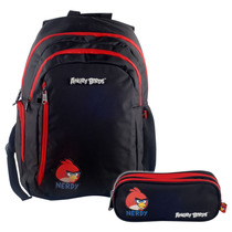Kit Angry Birds Mochila P/ Notebook + Estojo C/ 2 Div 501201
