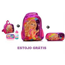 Kit Mochila Escolar Costas (g) Barbie Portal Secreto Roxa