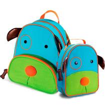 Kit Conjunto Mochila Lancheira Infantil Cachorro Orange Idea