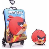 Mochila Infantil C/ Rodinhas 3d + Lancheira Angry Birds Red