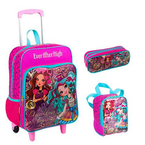 Kit Mochila Ever After High Gde Roda + Lancheira + Estojo |+