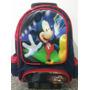 Mochila Escolar De Menino Rodinhas Mickey- Estampa De Cetim