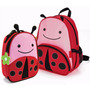Kit Conjunto Mochila Lancheira Infantil Joaninha Orange Idea