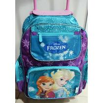 Mochila Infantil Escolar Grande Com Rodinhas Da Frozen