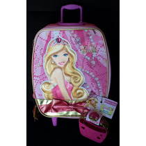 Mochila Barbie Escolar De Princesa C/ Rodinhas Sestini