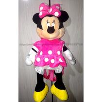 Mochila Costas Pelúcia Minnie Mouse Rosa Licenciado Disney