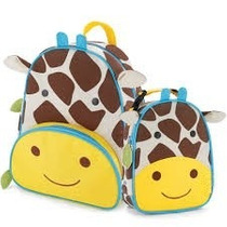 Kit Conjunto Mochila Lancheira Infantil Girafa Orange Idea