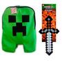 Mochila Do Minecraft Creeper Jogo + Espada De Ferro