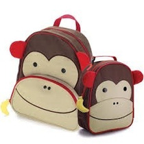 Kit Conjunto Mochila Lancheira Infantil Macaco Orange Idea