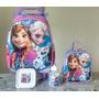 Mochila Infantil Frozen Rodinhas + Lancheira Térmica +estojo