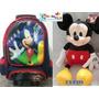 Mochila Escolar Infantil Rodinhas Mickey Mais A Pelúcia