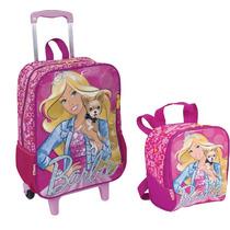 Kit Mochila G Rodas Barbie 16m G Original + Lancheira Sestin
