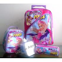 Mochila Barbie Rodinha Poderosa Power Lancheira + Estojo