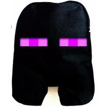 Mochila Minecraft - Enderman - Preta Com Ziper