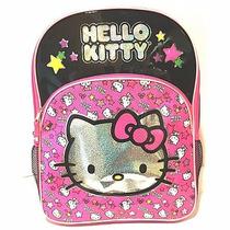 Mochila Hello Kitty Rosa Preta Prata Importada
