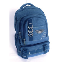Mochila Lona Sport Jeans Escolar Livros Viagem Trabalho
