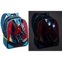 Mochila Que Acende Spider Man Homem Aranha Disney Store Novo