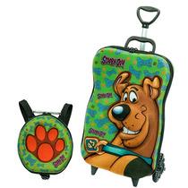 Mochila Infantil C/ Rodinhas 3d+lancheira Scooby Doo