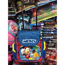 Kit Mochila Infantil Pequena Mickey Rodinha + Lancheira + Es