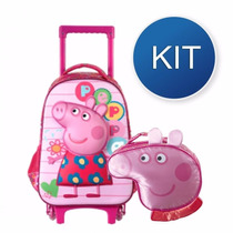 Kit Mochilete + Lancheira Peppa Pig Colorfull