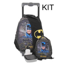 Kit Mochilete G Com Capa + Lancheira Batman Knight