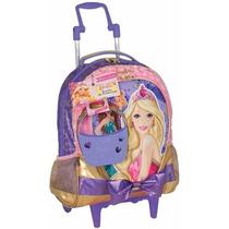 Mochila Carrinh G Barbie Escola Das Princesas Lilas Sestini