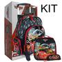 Kit Escolar Mochilete G + Lancheira + Estojo Carros Disney