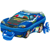 Mochila Escolar Mochilete 3d Carro V8 Azul + Lancheira