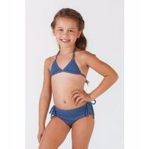 Biquíni Cortininha Azul Infantil Sol Da Barra