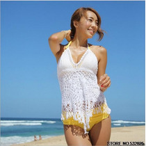 Blusa Crochet Branca Decote V Verão Praia Pronta Entrega