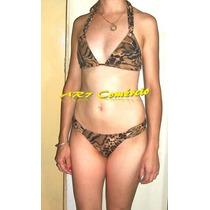Biquíni Bikini Sem Bojo Leopardo Onça Oncinha Cortininha
