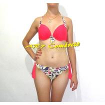 Biquini Bikini Estampado Floral Bojo Calcinha Ajustável