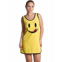 Camisola - Pijama Smile Amarelo Feminino Roupa - Tam. P A Gg
