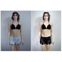 Biquini Top Com Shorts Croche Angel Retro Sunguini Neoprene