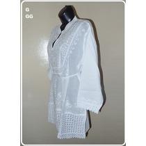 Saida Praia Bata Bordada Renda Branca Camisa Plus P M G Gg