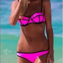 Biquini Moda Praia 3d Geometrica Com Bojo Neoprene Lindo Pnk