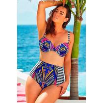 Biquíni/moda Praia/cintura Alta/biquíni Cós Alto - P/entrega