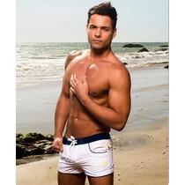 Shorts Andrew Christian Branco/ Azul Marinho - Tamanho 42